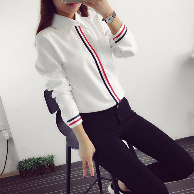 Hot Sale 2019 Spring Summer Women Office Lady Formal Button Down Long Sleeve School Blouse Cotton Soft Casual White Shirt Tops 2