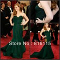 Custom Made! 2017 New Sexy Sweetheart Sleeveless Court Train Ruched Layers Satin Dark Green Mermaid Celebrity Dresses
