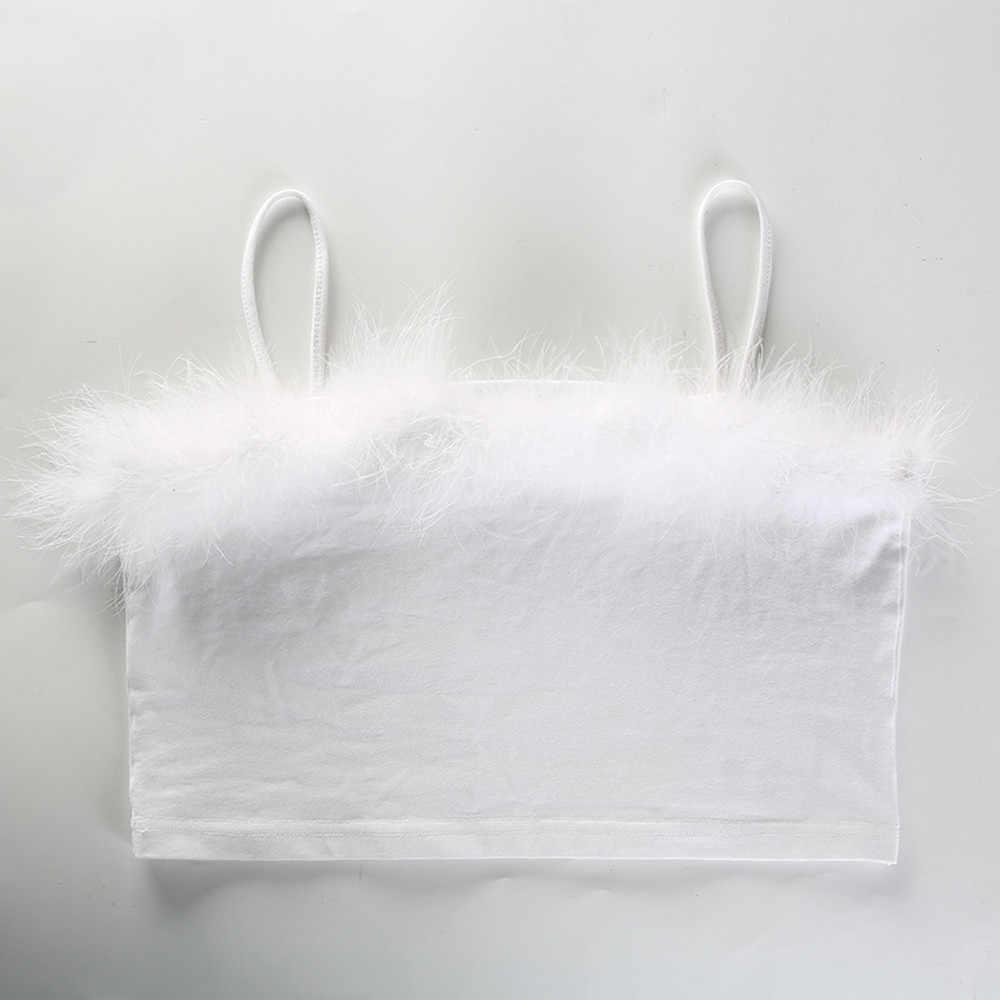 Для женщин пикантные женские без бретелек Хлопок Плюшевые укороченный топ без рукавов рубашка Танк Летний Пляжный жилет укороченная летняя модная одежда