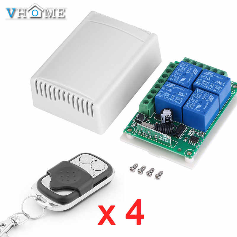 Vhome RF 433Mhz Universal Wireless Remote Control Switch AC 85V ~ 250V 220V 4 Channel Relay Receiver Smart Control
