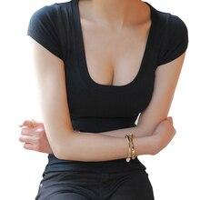 Женская футболка, базовая футболка, топ с глубоким v-образным вырезом, футболка, женские тонкие сексуальные летние топы,, короткий рукав, Корейская футболка, женская одежда