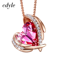 Cdyle Rose Gold Pink Angel Pendant Necklaces For Women Crystals from Swarovski Necklace Heart Jewelry Gift of Love For Valentine
