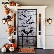 OurWarm 101x213cm Halloween Window Decoration Heritage Lace Spiderweb Bat Door Panel Horror Props Party Supplies