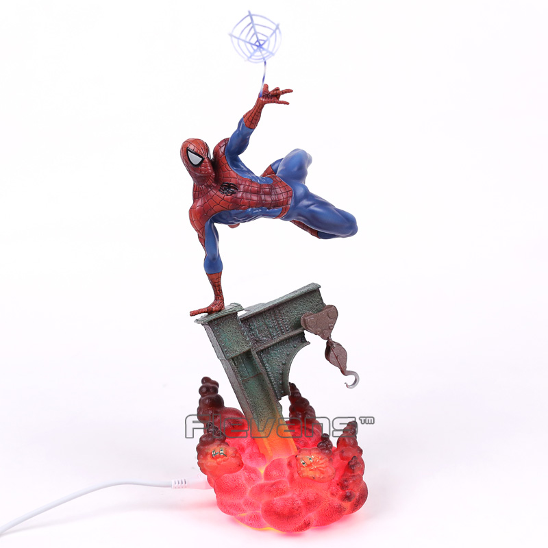 Spiderman Lights The Amazing Spider Man PVC Figure Collectible Model Toy 30cm spider man homecoming spiderman iron man mk47 pvc figure collectible model toy with retail box 2 styles