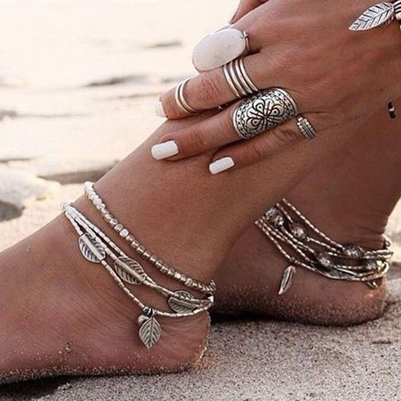 KMVEXO 2018 New Fashion Multilayer Retro Bohemia Round Leaves Anklet Beach Foot Jewelry Pull Bead Boho Anklet Bracelet For Women