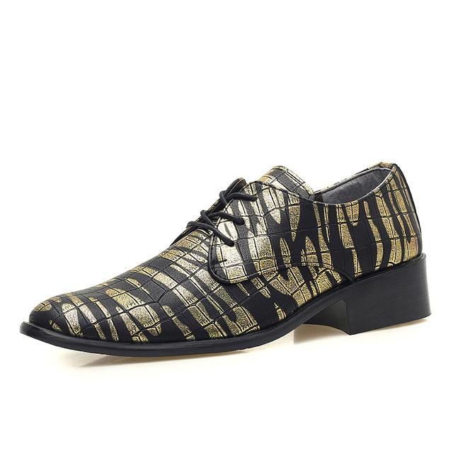 De alta calidad para hombre de tendencia zapatos de cuero para hombre de camuflaje camo ocio zapatos de fiesta de la playa de impresión midi oxfords zapatos de cuero de oro