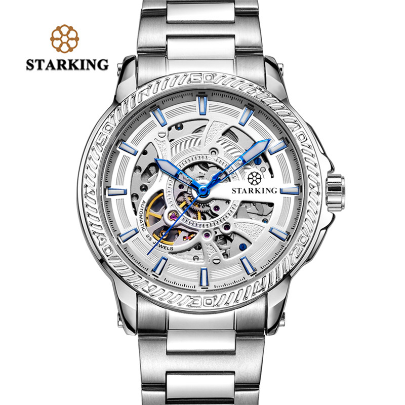 STARKING Luxury High Quality Men Watches Mechanical Automatic Self Winding Business Casual Stainless Steel Strap Wristwatch Gift ks golden stainless steel case automatic mechanical movement analog leather strap men self winding casual watches ks172