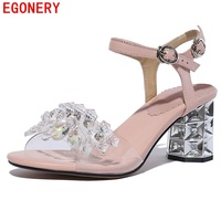 Egonery Women Leather Sandals 2017 Summer Fashion String Bead Genuine Leather Shoes High Heels Pumps Fashion