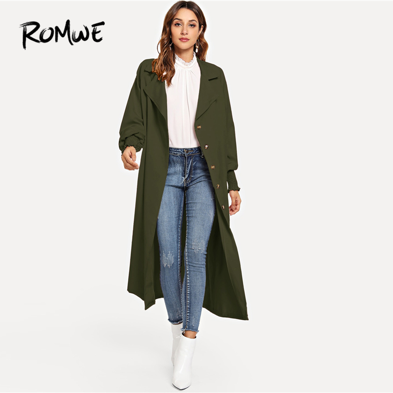 ROMWE Single Breasted Longline Solid Coat 2019 Fashion Women   Trench   Coat Chic Female Spring Autumn Long Sleeve Long Outer