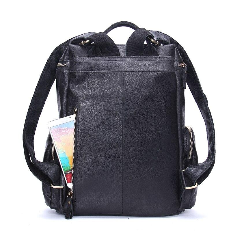Leder Echtem Männer Schwarz Contact's Kleine Männlichen 13 Daypack Für Tasche Kapazität Bagpack Laptop Zoll Casual 3 Große Rucksack Black Hw4qqF5