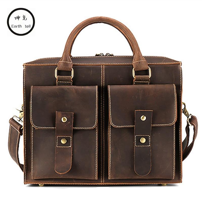 Men Messenger Bags Vintage Crazy Horse Genuine Leather Man Shoulder Crossbody Bags Small Male Bag Commerce Laptop Travel Handbag