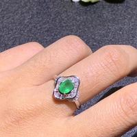 Natural emerald ring Free shipping 925 sterling silver 5*7mm gemstone Fine jewelry