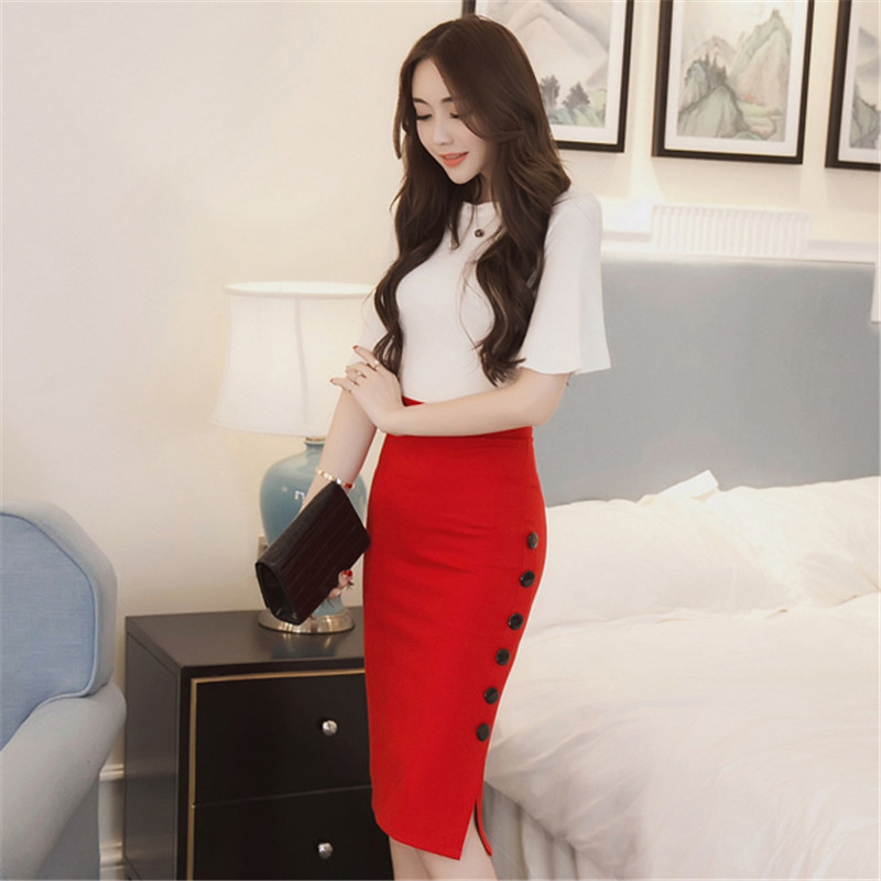 Women <font><b>Sexy</b></font> Pencil Skirts Office Mid Waist Mid-Calf Skirt Casual Slim <font><b>Hip</b></font> Placketing Lady Skirts Jupe Femme Plus Size Bigsweety image