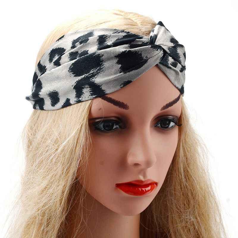 c9a48819a Women Vintage Satin Faux Silk Stretchy Hairband Digital Printing Leopard  Animal Textured Turban Cross Twist Knotted Headband