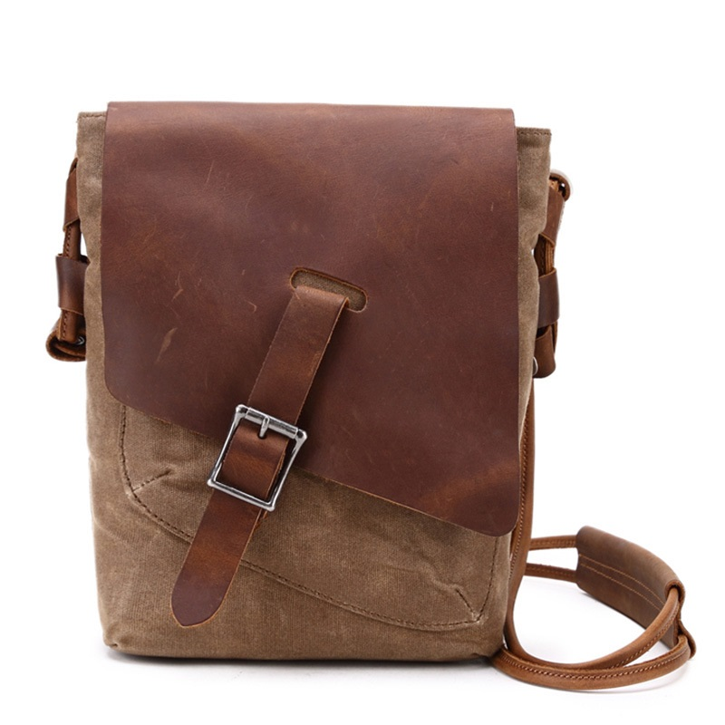 "fashion canvas for 7.9""tablet bag oil wax canvas leather shoulder bag handbag free shipping"