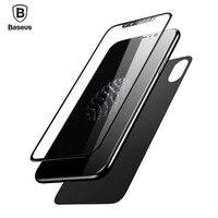 Baseus قسط الجبهة عودة حامي الشاشة لفون x فيلم 3d كامل الجسم الغطاء الخلفي تشديد الزجاج المقسى ل فون × 10