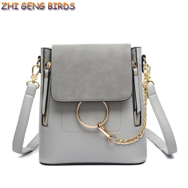 ФОТО ZHI GENG BIRDS! 2017 Women Bag Chain Ring Backpack Zip Leather Shoulder Bags Brand Designer Multifunction Travel Small Backpacks