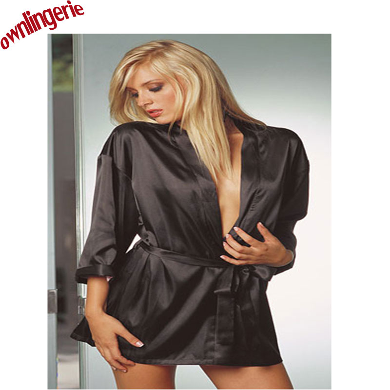 Hot font b Sex b font Lingerie Satin Lace Black Kimono Intimates Sleepwear Robe Fauz Silk