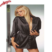 Hot Sex Lingerie Satin Lace Black Kimono Intimates Sleepwear Robe Fauz Silk Sexy Night Gown sex product Lace Style Sleepwear Top