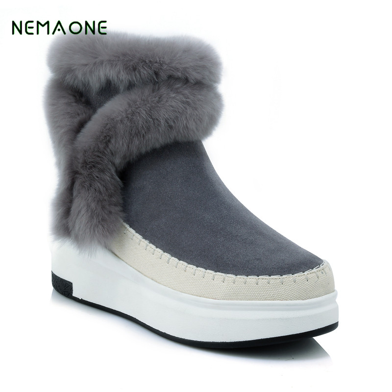 NEMAONE Fashion Women 100% Genuine Leather Snow Boots Natural Winter Boots Warm Women Boots Shoes Free Shipping