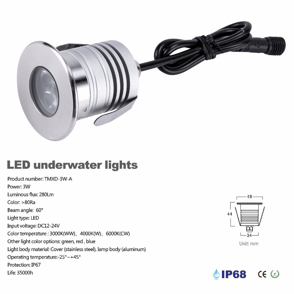3W LED Pool Light Underwater Lamp IP68 Waterproof Light For Swimming Pool DC12-24V Safety Pond Fountain Spotlight With Cree Chip