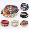 Charm Bohemia Beads Bracelets Women Trendy Candy Jelly Bangles Multilayer Beaded Elastic Accessories Lady Pulseras Mujer Jewelry