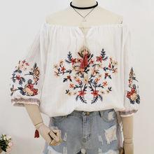 MUMUZI Ethnic Vintage White Floral Embroidered Blouses For Women Loose 3/4 Lantern Sleeve Shirt Women Casual Cotton Linen Tops