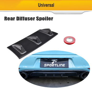 ABS Car Auto Replacement Parts Bumpers 23x5.7in Universal Car Rear Bumper Lip Diffuser Spoiler 3 Fin 5 Fin Shark Style image