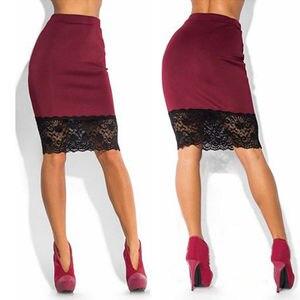 Image 2 - Saia feminina formal de cintura alta e renda, saia lápis curta sexy transparente de esticar vermelha e preta