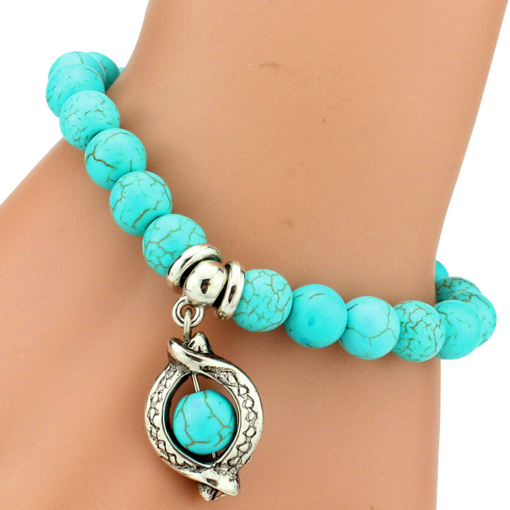Hot Boho Vintage Turquoises Charms Bracelet Men Lovely Tree Snake Owl  Pendants Bracelets Bangles For Women