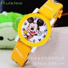 Новинка, модные крутые часы с Микки Маусом для детей, кожаные цифровые часы для детей, для мальчиков, рождественский подарок, наручные часы
