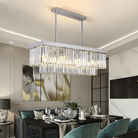 Rectangle chrome crystal chandelier lighting modern living room led chandeliers for the kitchen luxury lamp in the bedroom