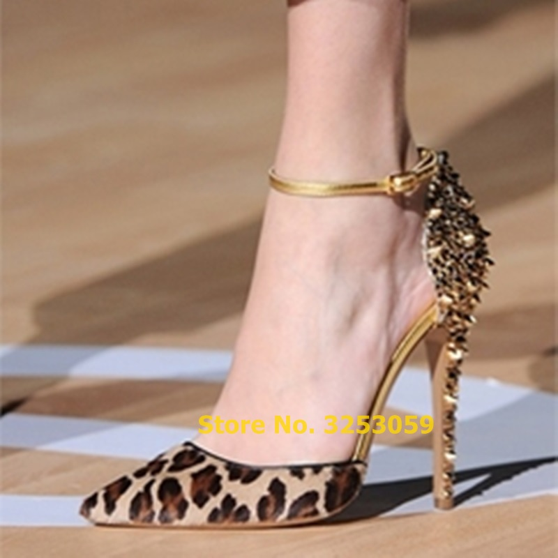 ALMUDENA Factory Real Photo Leopard Horse Hair Gold Heels Dress Pumps Bling Bling Pointed Toe Bling Bling Crystal Rivets Shoes
