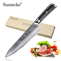 SUNNECKO Premium 8 inch Chef Knives Damascus Steel Kitchen Knife Japanese VG10 Core Blade Chef Knife Meat Cutter Tool G10 Handle