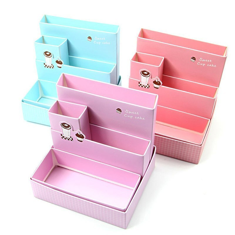 Paper Board Organizer Storage Box Jewelry Container Makeup Handmade DIY Assembly Cosmetic Organizer Wood jewelry Box For Office