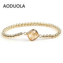 Натуральный камень с золотым цветом гематит эластичные браслеты