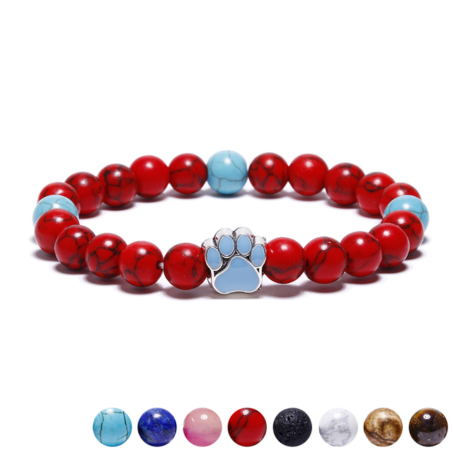11 Colors 8mm Colorful Natural Stone Beads Bracelets Dog Cat Footprint Paw Charm