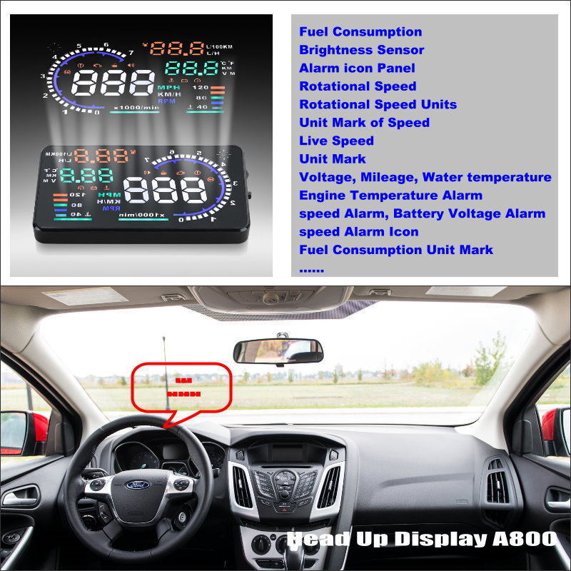 Car Information Projector Screen For Ford Focus Sedan Hatchback 2012-2014 - Driving Refkecting Windshield HUD Head Up Display