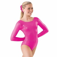 Mandy Lycra Womens Long Sleeve Ballet Leotard Spandex Gymnastics Leotards For Girls Metallic Shiny Leotard For
