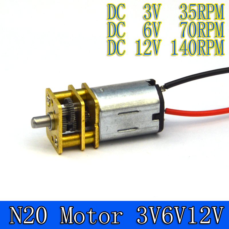 1pcs 12MM  N20 Micro Motor Electric Gear Box Motor 3v 6v 12v 35/70/140rpm  4.5mm Short Motor Shaft+11CM Motor Cable