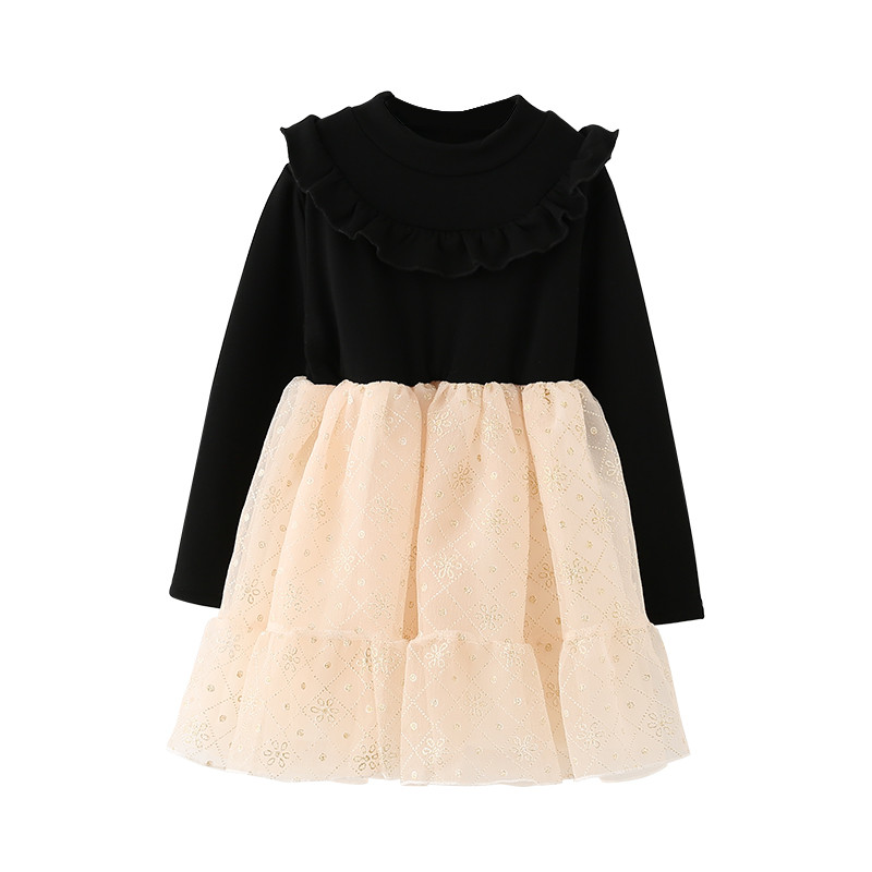 4 to 14 years kids & teenager girls winter turtleneck ruffle tulle princess party dresses children long sleeve fashion dress