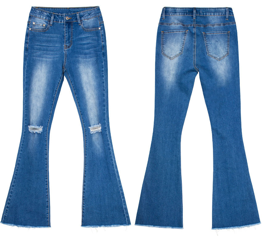 Women\`s dress of Europe and America 2018 new wide leg trousers jeans denim flared trousers women\`s worn-out edge trousers (21)