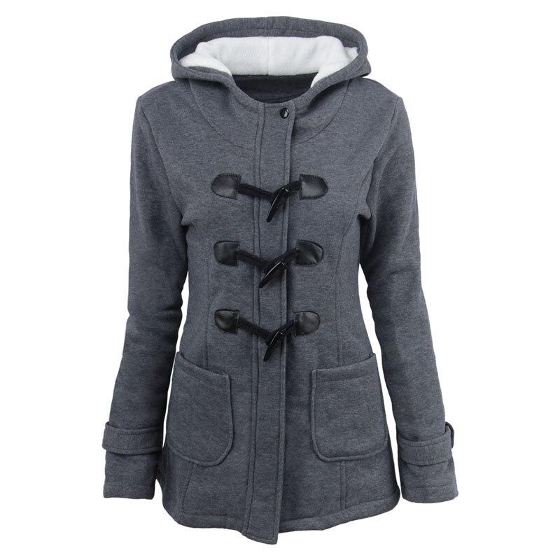 Causal Women Hooded Coat Horn Buttons Cotton Outwear   Parkas   Female Woolen Casacos Winter Jackets Feminino Womens Overcoat Autumn