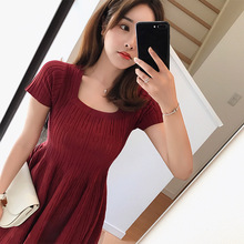 2018 summer new hollow slim high waist knit dress female short sleeve big swing a-line dress pink white red