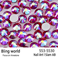 SS3-SS30 Siam AB Nail Art Rhinestones With Round Flatback For Nails Art Cell Phone And Wedding Decorations