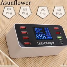 Asunflower Multiple 8 Port USB 3.0 Hub Quick Charger LED Display Desktop Multi Splitter Fast Charging Dock Station EU