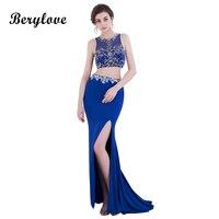 BeryLove Deux Pièces Sirène Robes De Soirée 2018 Bleu Royal Fente Robe De Soirée Perlée Longue Robes De Bal Formelle Robes De Soirée