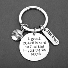 """A great Coaches is hard to find and impossible to Forget"" Letter BaseballPendant Keychain Thank You Key Chain Teachers Day Gift(China)"