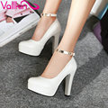 VALLKIN 2017 Metal Decoration Ankle Strap Wedding Shoes Thin High Heel Women Pumps Black PU Party Platfrom OL Shoe Size 34-43