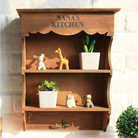 Zakka Grocery Retro Wooden Storage Cabinet Wall Hanging Cabinet Storage Rack Shelving Trumpet